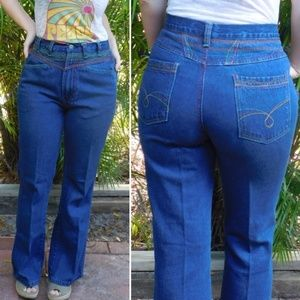 Vintage 70's High Waisted Rainbow Stitched Flares